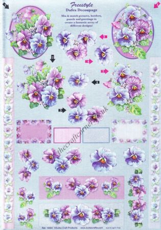Freestyle Pansy Flowers 3d Decoupage Sheet From Dufex
